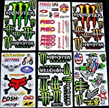 * 6 BLATT AUFKLEBER VINYL MBM/ MOTOCROSS STICKERS BMX BIKE PRE CUT STICKER BOMB PACK METAL ROCKSTAR ENERGY SCOOTER