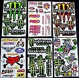 * 6 BLATT AUFKLEBER VINYL MBM/ MOTOCROSS STICKERS BMX BIKE PRE CUT STICKER BOMB PACK METAL ROCKSTAR...