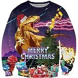 TUONROAD Unsiex Ugly Christmas Jumper Sweatshirts 3D Printed Long Sleeve Funny Xmas Elf Sweater S-3XL