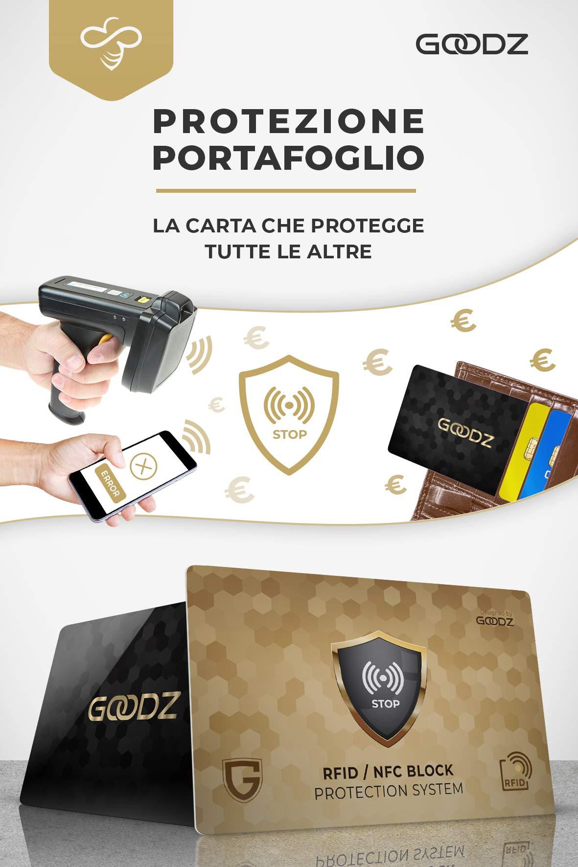 Black/&gold Carta Di Blocco Goodz Protezione RFID NFC Per Pack 2 Carte