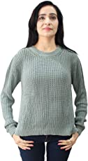 Matelco Women's Green Cotton Blend Knitted Pullover