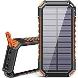 Riapow Solar Powerbank 26800mAh Tragbares Solar Ladegerät USB C Power Bank mit 3 Ausgängen Schnellladung Externer Akku für Ha