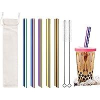 Paille Inox, Color Pailles Réutilisables avec deux Brosses de Nettoyage, Le Paille Bubble Tea écologique et non Toxique…
