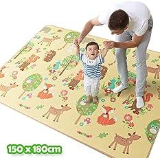 Bakaji Tappeto Gioco per Bambini Double Face Animali del Bosco e Pecorelle Albero Super Tappetone Maxi Spessore in Schiuma Xeva