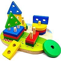 Jouets en Bois Enfant 1 2 3 4 ans, Jouet Montessori de Développement Éducatif pour Bébés, Géométriques Forme Stack Tri…