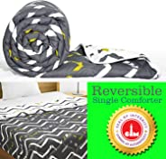 Divine Casa Luxor Abstract Polyester Single Reversible Comforter - Grey and White (110 GSM)