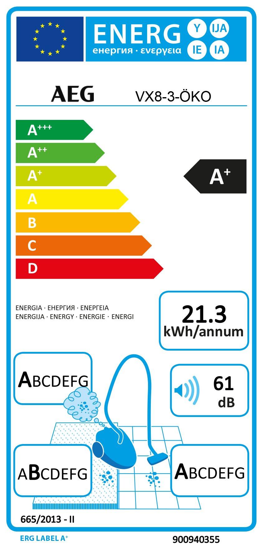 AEG VX8-3-ÖKO Staubsauger mit Beutel / 55% Recyclingmaterial / Zusatzdüsen / 600 W / nur 61 dB(A) / 12 m Aktionsradius…