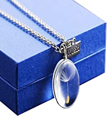 Angela_max Real Dandelion Seed Pendant Necklace Glass Oval Globe Make a Wish DIY Nature Seeds Pendant for Girls Women