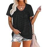 iChunhua Women's Summer Tops Short Sleeve Plain Basic T Shirts with Pocket