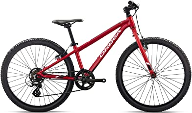 ORBEA MX 24 Dirt Kinder Fahrrad 7 Gang MTB Rad Aluminium Mountain Bike, J01624, Farbe Rot Weiß