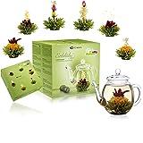 Creano Mélange de fleurs de thé – Coffret cadeau avec théière en verre, Thé vert fruité aromatisé (6 variétés de roses thé),