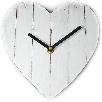 Just Contempo, Orologio da Parete, Legno, Vintage White Heart, 3x21x20 cm