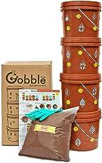Daily Dump Gobble Senior Plastic Indoor Compost Bin Kit (2 Kg, Brown, 6-Pieces)