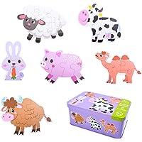 EKKONG Jouet Bébé,Jouet Puzzle en Bois pour Enfants, 6pcs Jouets Montessori Enfant, 3D Puzzles en Bois pour Enfant 1 2 3…