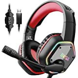 EKSA Gaming Headset PC Headset with 7.1 Surround Sound, Noise Canceling Over Ear USB Wired Headphones with Mic & RGB LED Ligh