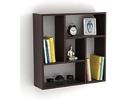 BLUEWUD Engineered Wood Wall decor Shelf ,Matte Finish,Set Of 8,Wenge