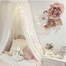 LEDUNUS Princess Bed Canopy Lace Mosquito Net for Kids Baby Crib, Round Dome Kids Indoor Outdoor Castle Play Tent Hanging House Decoration Reading Nook Cotton Canvas Height 270cm/107 '' (White)
