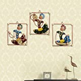 Handicrafts Paradise Wrought Iron Wall Art Tribal Musical Rajasthani Showpiece Multicolour 7 X 8 Inch Set of 3 pc