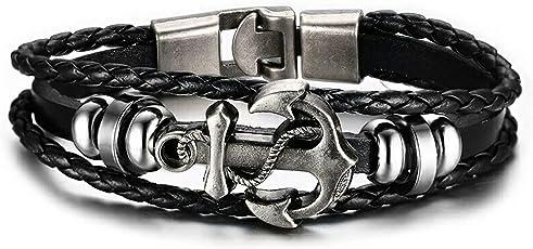 The Jewelbox Anchor Braided 100% Genuine Leather Rhodium Plated Ring Wrist Band Strand Bracelet Boys Men Gift