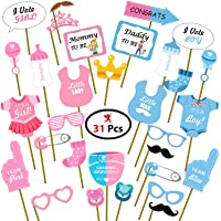 Party Propz Baby Shower Props for Photoshoot, Photo Booth, Decorations 31Pcs, Sticks Attached for Mom to Be Shoot…
