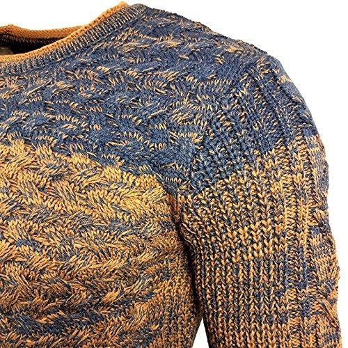 Herren Pullover Strick Pulli Gestreift in 3 Linien Rundhals Langarm A1-RN13266 Blau