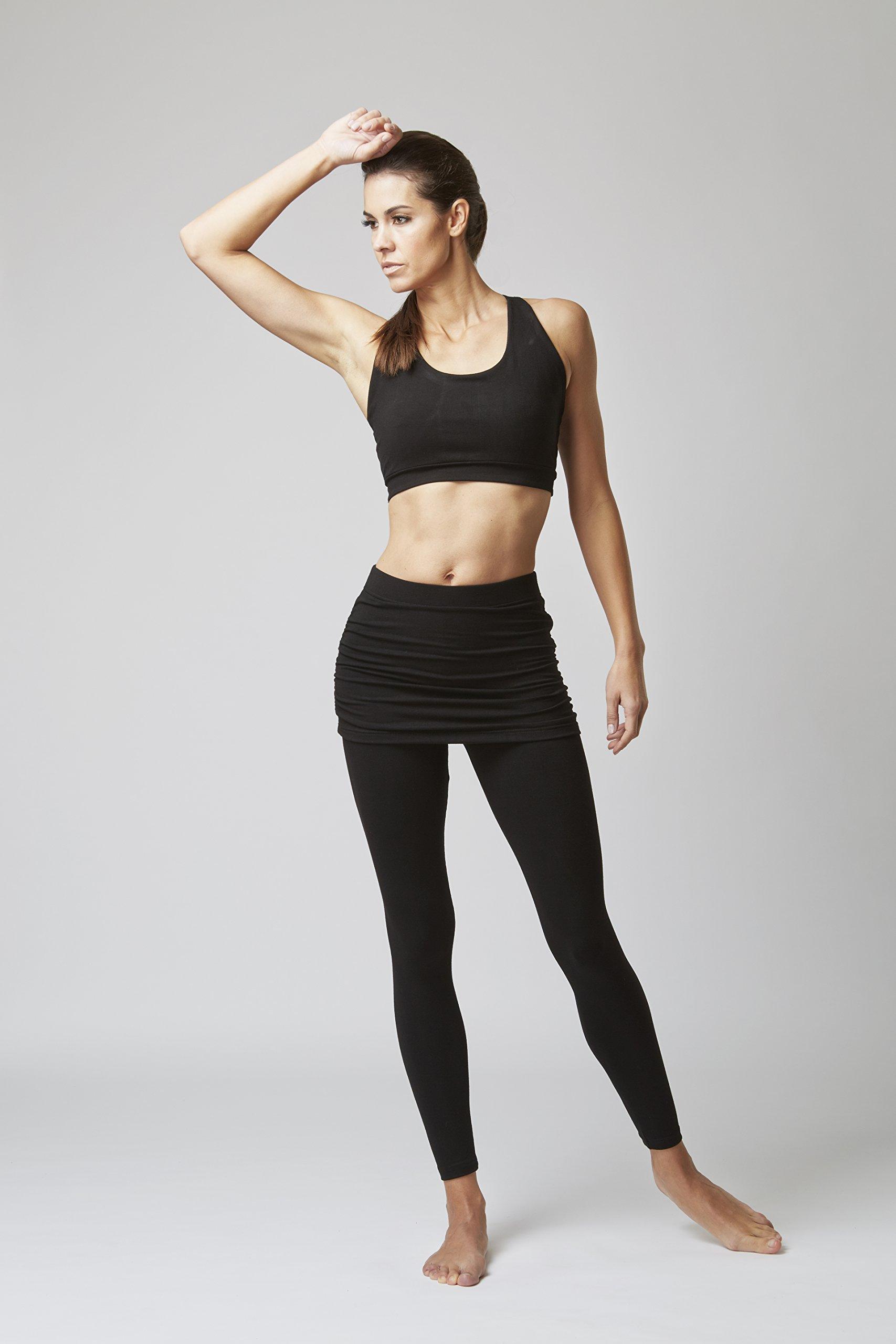 71ByaTTpmnL - TLC Sport Stay Strong Offer Women's Lightweight Waisted Gathered Skirt Leggings Black