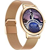 Slim horloge voor dames, fitness activity tracker horloge met hartslag, slaapmonitor, bloeddrukmeter, menstruatie, volledig t