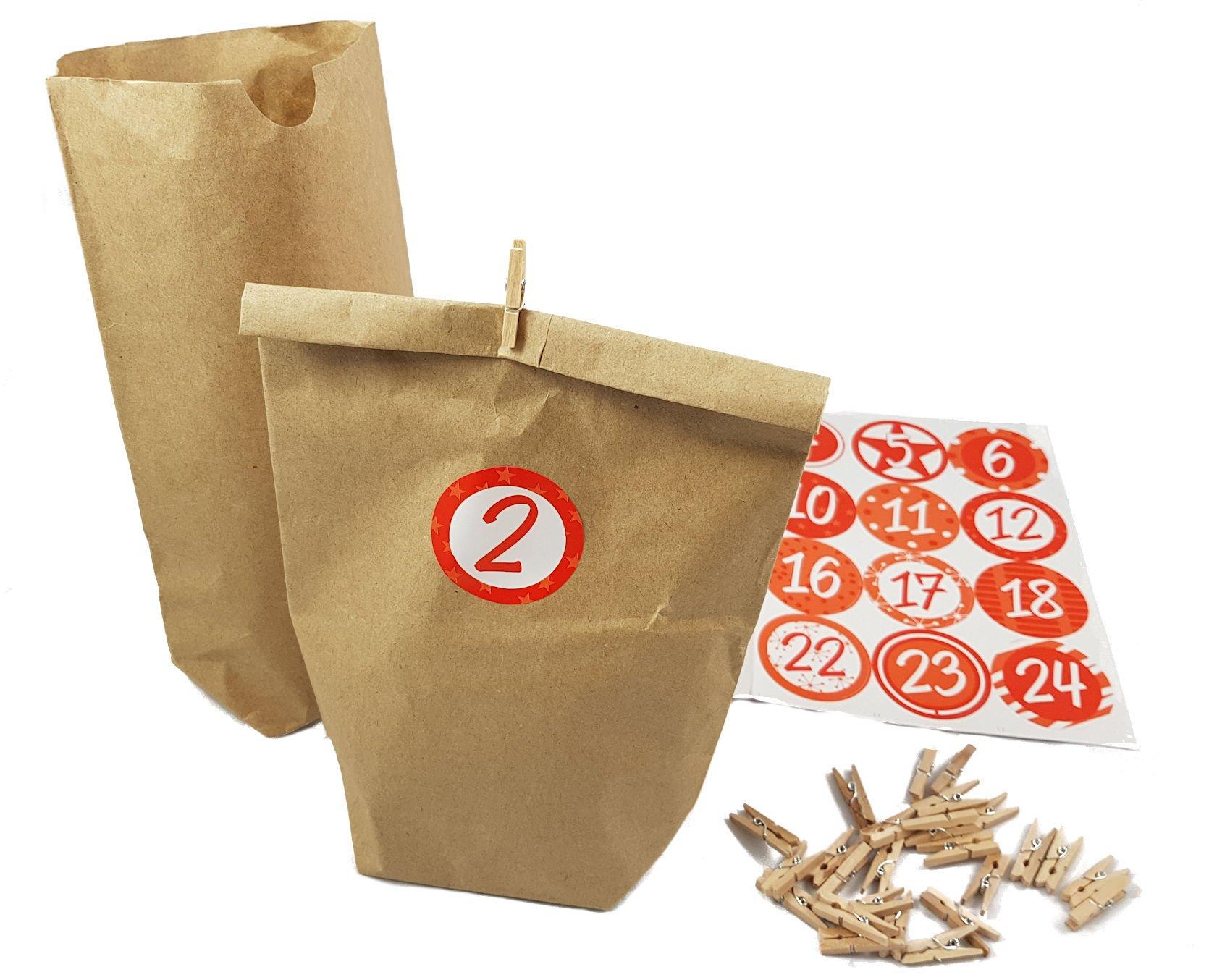 Adventskalender mit Papiertüten, 24 weihnachtlichen Stickern und 24 Holz Klammern - Adventskalender zum selber befüllen 1
