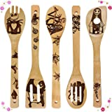 Nightmare Before Christmas Wooden Spoons Cooking & Serving Utensils Set - Natural Burned Wooden Spoon Slotted Kitchen Utensil