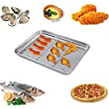 Bestonzon plaque de cuisson en acier inoxydable avec grille plaque de four grille-pain Poêle avec grille de refroidissement 2