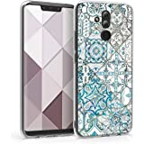 kwmobile Hülle kompatibel mit Huawei Mate 20 Lite - Handyhülle - Handy Case Marokkanische Fliesen einfarbig Blau Grau Weiß