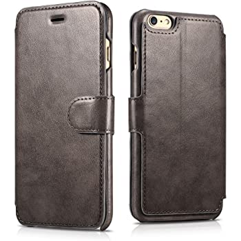 newest e4365 e6792 iPhone 6s PU Leather Case, Xoomz Premium Vegan Leather Side Open Wallet  Cases with 3 Card-slot, Flip Folio Style with Magnetic Strap with Stand ...