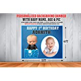 WoW Party Studio Personalized Boss Baby Theme Party Happy Birthday Decorations Background / Backdrop Banner with Birthday Boy