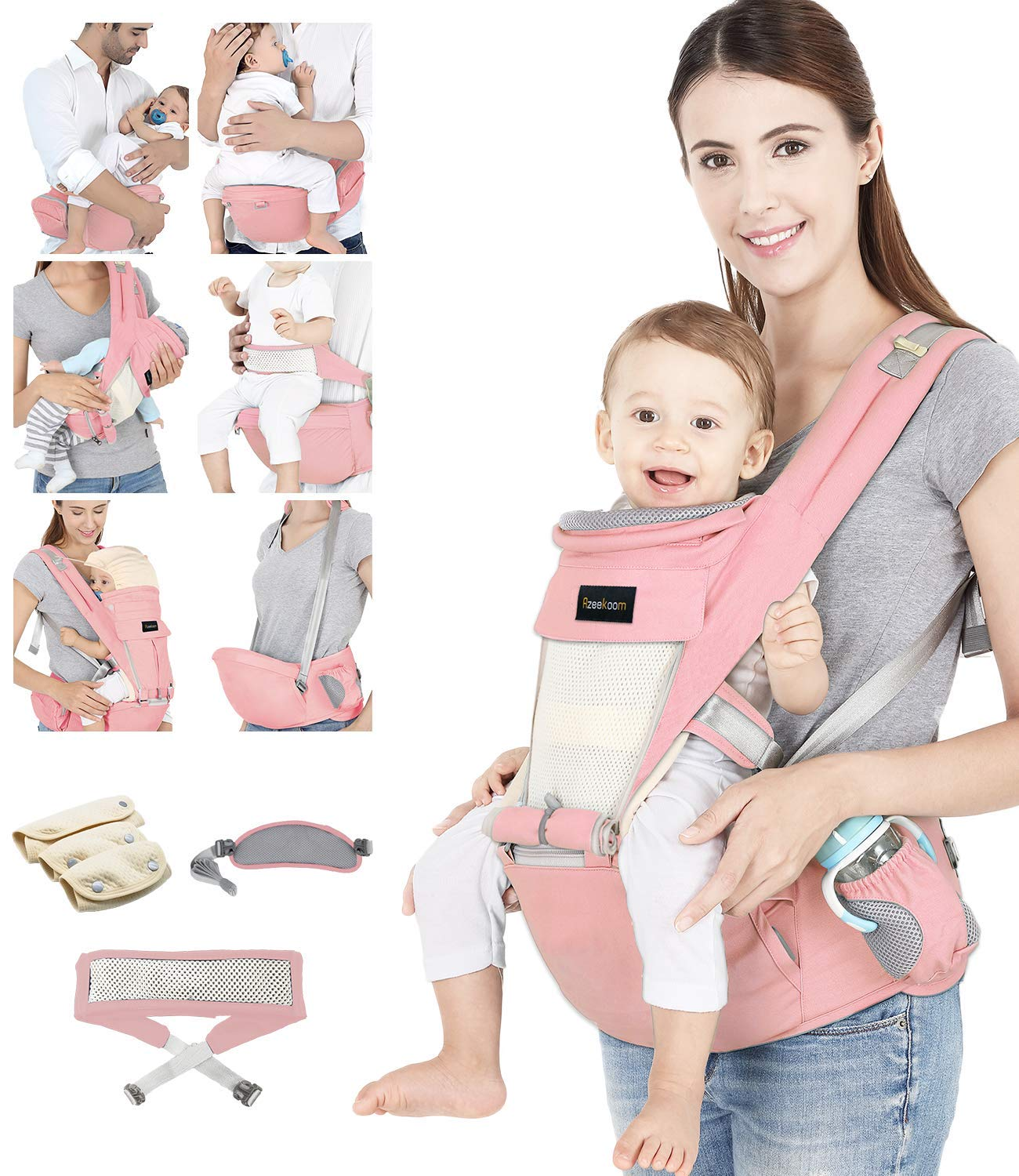Azeekoom Baby Carrier, Ergonomic Hip Seat, Baby Carrier Sling with Fixing Strap, Bibs, Shoulder Strap, Head Hood for Newborn to Toddler from 0-36 Month (Pink) Azeekoom 【More Ergonomic】 - Baby carrier for newborn has an enlarged arc stool to better support the baby's thighs, the M design that allows the knees to be higher than the buttocks when your baby sits, is more ergonomic.The silicone granules on the stool provide a high-quality anti-slip effect that prevents the baby from slipping off the stool. 【Various Methods of Carrying】- There are 5 combinations of ergonomic baby carrier and a variety of ways to wear them.Hip Seat/Fixing Strap + Hip Seat/Shoulder Strap + Hip Seat/Strap + Hip Seat/Strap, 5 combinations to meet your needs.Fixing Strap frees your hands and prevent your baby from falling over the stool.The shoulder straps reduce the burden on your waist and make you more comfortable. 【More Comfortable】 - The baby carrier is made of high quality cotton fabric with 3D breathable mesh for comfort and coolness. The detachable sunshade provides warmth in winter and fresh in summer. The detachable cotton slobber allows you to Easy to change. At the same time, the zip closure is designed for easy removal and cleaning. 1