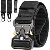 Mens Tactical Belt, Military style safety belts, Heavy Duty Nylon Canvas Waist Belt with 2 Hooks and Quick Release Cobra Buck