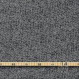 MIRABLAU DESIGN Stoffverkauf Schurwolle Seide Tweed Fischgrat Wollstoff schwarz weiß (1-234M), 0,5m