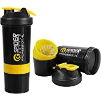 Dewberries Spider Protein Shaker Bottle 500ml with 2 Storage Extra Compartment for Gym