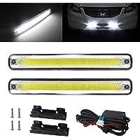 3 Colori DC 12V luce di segnalazione Ultra Sottile auto morbido tubo striscia 2Pcs 60cm Luci diurne auto impermeabil IP65 LED Luce di Marcia Diurna 3 Modalit/à 450LED