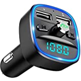 Cocoda Transmisor FM Bluetooth, [Luz de Anillo Azul] Manos Libres para Coche, Inalámbrico Reproductor MP3 Mechero Coche Adapt