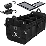 DUSSLE DORF Multi Compartments Collapsible Portable Trunk Dicky Organizer for Garage, SUV, Cars, Minivan (Black)