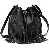 AFKOMST Beuteltasche für Damen, Schultertasche mit Kordelzug und Designer-Damenhandtaschen mit verstellbaren Schultergurten,