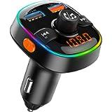 Bovon Trasmettitore Bluetooth per Auto, 7 Colori Controluce con Modalità Gradiente, FM Transmitter Bluetooth 5V 2.4A…