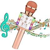 Micrófono Karaoke Bluetooth,Micrófono Inalámbrico Bluetooth Karaoke portatil con Luz LED Micrófono Infantil con Cantar y Grab