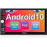 Vanku Android 10 Radio 2 DIN de 4GB+64GB, PX5 Autoradio con GPS Navegador Soporte Bluetooth, Control Volante, WiFi, USB, SD,