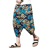 Pantalones de verano para hombre con cintura elástica de lino Capri de pierna ancha y pantalones de harén holgados