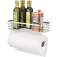 mDesign panier rangement avec porte essuie tout – étagère murale pratique pour la cuisine ou le placard – étagère murale…