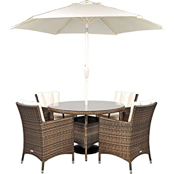 Savannah Rattan Round Glass Dining Table And 4 Chairs + Seat Cushions +  Umbrella / Parasol + Dust Cover Garden Patio Conservatory Lounge Furniture  (120 X ...