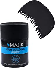Majik Small Hair Thickening Fibers For Hair Building With Optimizer Comb For Men And Women In Black Color Of 7 Grams, Pack Of 1