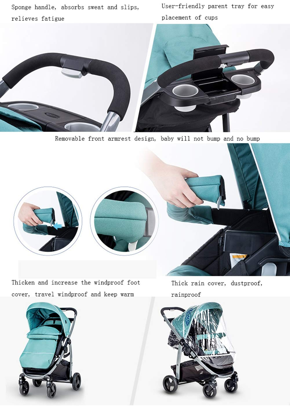 XUE Baby Stroller, Spacious High Landscape Trolley Shock Absorber Can Sit Reclining With Basket Travel System With Embrace XUE ∵ Wipeable and washable design for easier cleaning. ∵ Convertible high chair becomes booster and toddler seat. ∵ Keeps little ones secure with 3-point and 5-point harnesses. 5