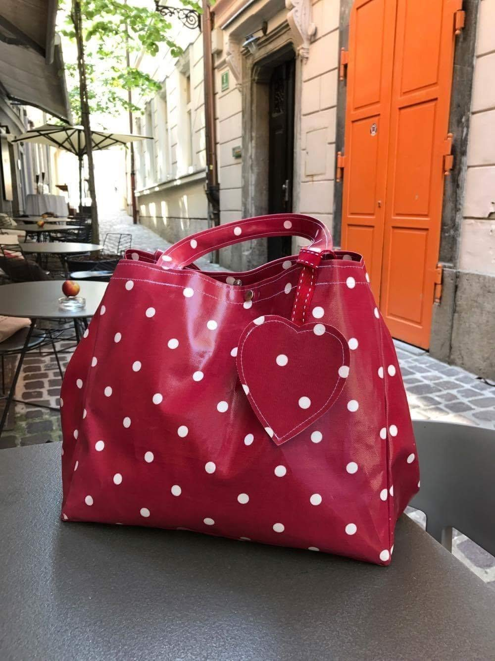 Red Polka Dot Market Tote Bag Purse Fashion Gift for Her - handmade-bags